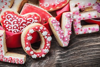 baked cookies with the word love and the numbers 14 Valentines Day